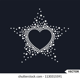 Rhinestone Applique Heart Star Design. Embroidery pattern, Hot-fix design idea.