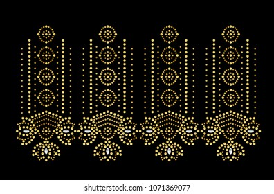Rhinestone Applique pattern,Fashion hijab, Muslim garment,Motfi pattern design,Hot-fix transfer design.