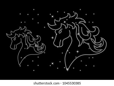 Rhinestone applique print for textile clothes fashion,Trendy crystal studs embellishment for apparel,Beautiful Horse design,Horse in motif style, Heat transfer artwork.