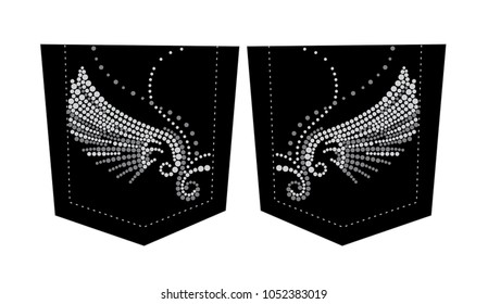 Rhinestone applique print for textile clothes fashion,Trendy crystal studs embellishment for apparel,Beautiful Wings design, Wing in motif style, Heat transfer artwork.
