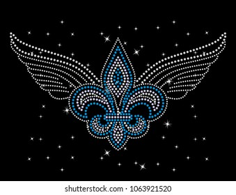 Rhinestone applique print for textile clothes fashion,Trendy crystal studs embellishment for apparel,Beautiful Fleur de lis design, Fleur de lis symbol in motif style, Heat transfer artwork.