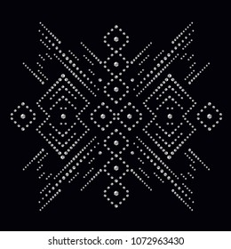 Rhinestone applique print for textile clothes in fashion luxury design. Trendy vector crystal studs embellishment with brilliants for apparel. Jewelry ornament embroidery for t-shirt hotfix transfer