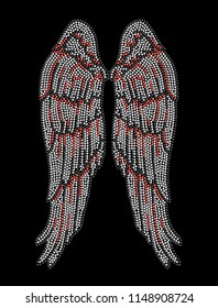 Rhinestone applique print for textile clothes fashion,Trendy crystal studs embellishment for apparel,Beautiful  Wing design, Heat transfer artwork.