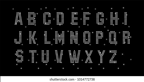 Rhinestone applique for t-shirt hot-fix transfer, Motif Alphabet design graphics.