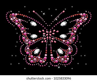 Rhinestone applique for t-shirt hot-fix transfer, Motif Butterfly design graphics.