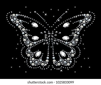 Rhinestone applique for t-shirt hot-fix transfer, Motif Butterfly design graphics
