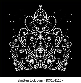 Rhinestone applique for t-shirt hot-fix transfer, Rhinestone  print for textile clothes fashion, Trendy crystal studs apparel, Crown design in motif style, Heat transfer artwork, Tiara design.