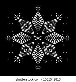 Rhinestone applique for t-shirt hot-fix transfer, Rhinestone  print for textile clothes fashion, Trendy crystal studs apparel, Snowflake  design in motif style, Heat transfer artwork.