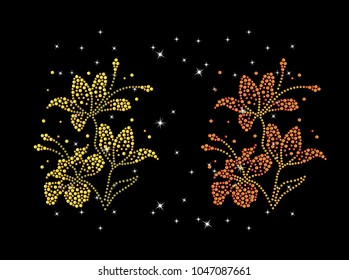 Rhinestone applique for t-shirt hot-fix transfer, Flower design graphics, Rhinestone  print for textile clothes fashion, Trendy crystal studs embellishment for apparel.