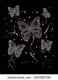 Rhinestone applique for t-shirt hot-fix transfer, Butterflies design graphics, Rhinestone  print for textile clothes fashion, Trendy crystal studs embellishment for apparel.