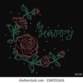 Rhinestone with Rose design applique for t-shirt hot-fix transfer. Abstract beautiful applique rhinestones. Motif neck line design graphics - Vector