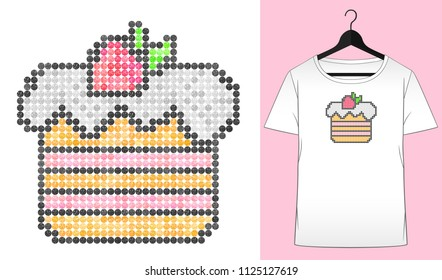 Rhinestones cake. Summer design. Happy birthday. Transfer iron heat ornament. Dessert. Embroidery. T-shirt simple mockup. Rhinestones appligue hot fix. Print for fabric. Fashion trend.