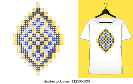 Rhinestones ornament. Transfer iron heat design. Ethnic. Tribal. Boho. Colorful ornament. Gems. T-shirt simple mockup. Rhinestones appligue hot fix. Print for fabric. Fashion trend.