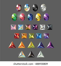 Rhinestones set, oval, square, and triangle gems