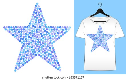 Rhinestones star. Transfer iron heat ornament. Gems, diamonds, jewelry decor. Embroidery. T-shirt simple mockup. Rhinestones appligue hot fix. Print for fabric or denin. Fashion trend.