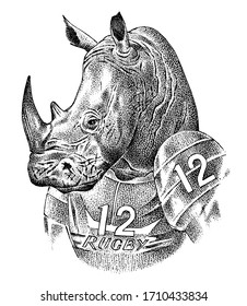 Rhino badge, retro rhinoceros. Rugby sport. American football player. Fashion Animal character sketch. Hand drawn Anthropomorphism. Vector engraved illustration for label, logo and T-shirts or tattoo.