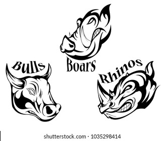rhino boar bull horn head