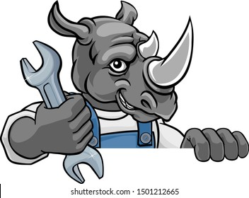 A rhino cartoon animal mascot plumber, mechanic or handyman builder construction maintenance contractor peeking around a sign holding a spanner or wrench