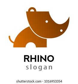 rhino cartoon silhouette style logo,vector illustration
