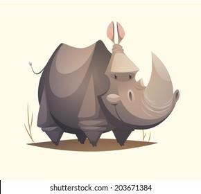 Rhino character. Cartoon vector illustration.