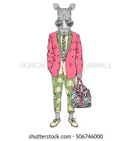 rhino dressed up in summer suit, furry art illustration, fashion animals, hipster animals, anthropomorphism