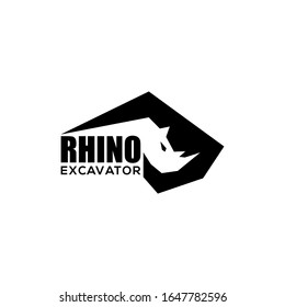 rhino and Excavator creative logo heavy equipment