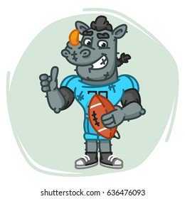 Rhino Football Player Holds Ball Shows Thumbs Up. Vector Illustration. Mascot Character.
