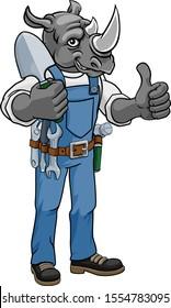 A rhino gardener cartoon gardening animal mascot holding a garden spade tool and giving a thumbs up
