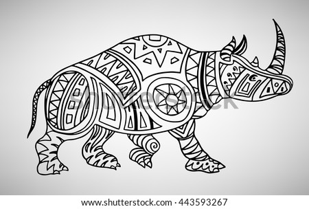 Rhino Handdrawn Ethnic Pattern Coloring Page Stock Vector (Royalty ...