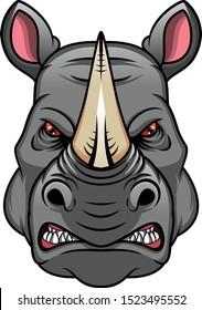 rhino head mascot isolated on a white background