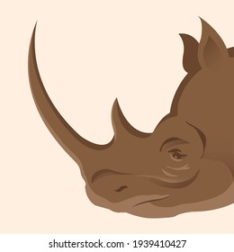 Rhino head side view. The herbivore of Africa. Protection of endangered species of animals. Vector isolated illustration on a white background