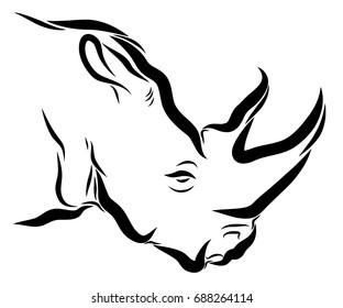 Rhino head simple line art