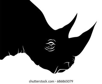 Rhino Head Vector Illustration