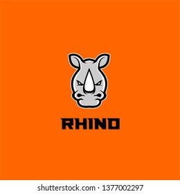 rhino head white orange background logo icon designs vector illustration sport