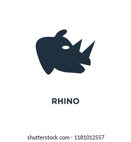 Rhino icon. Black filled vector illustration. Rhino symbol on white background. Can be used in web and mobile.