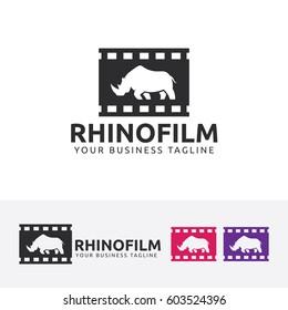 Rhino logo design. Movie and Cinema, Production, Animal silhouette logo concept. Vector logo template