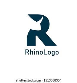 rhino logo design template, editable vector
