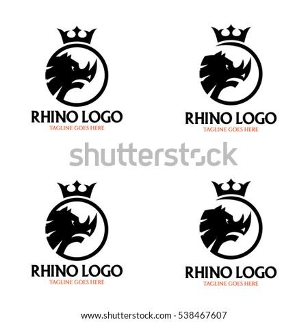 rhino logo design template rhino head stock vector royalty free