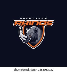 Rhino Logo Design Vector for Sport Emblem and Badge Logo