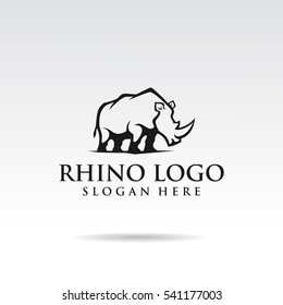 Rhino logo template design. flat style for brand t shirt. Vector illustrator eps.10