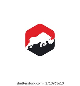 Rhino logo vector design. Rhinos logo for sport club or team. Angry Rhino logo