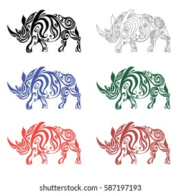 Rhino made of floral elements on a white background. Vector illustration. It works well as a tattoo, icon, logo, seal or talisman. The concept of animals.