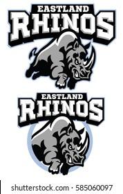 Rhino mascot charging
