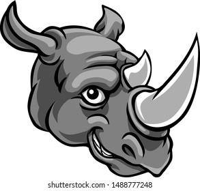 A rhino mascot friendly cute happy animal cartoon character