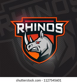 Rhino  mascot logo. Angy Rhino head. Emblem , e-games, sport and team logo.
