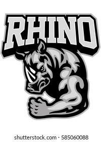 rhino mascot showing his muscle arm