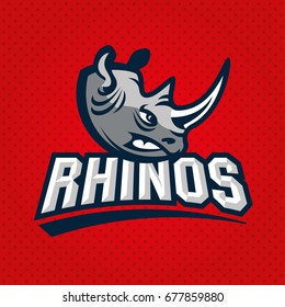 Rhino mascot. Vector illustration, sport logo template.