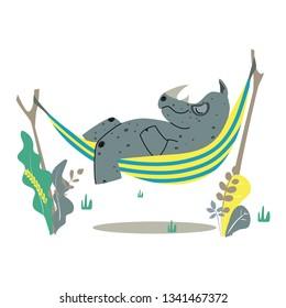Rhino on a white background. Rhino in hammock. Rhino in the summer. Rhino cartoon vector