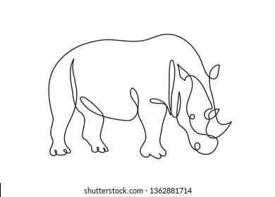 Rhino one line drawing. Abstract minimal line art. Editable line