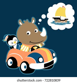 rhino with penguin on a car, vector cartoon illustration